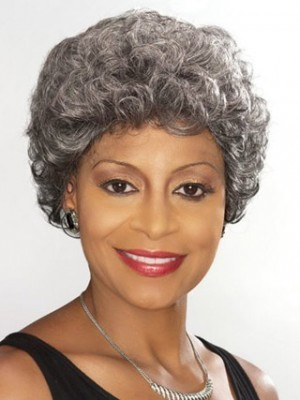 Capless Short Wavy Silver Gray Wig