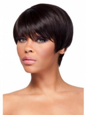 Boycuts Straight Human Hair African American Wig