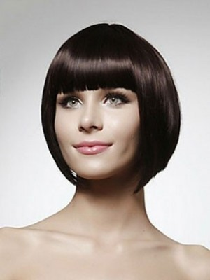 Short Bob Bonny Straight Human Hair Wig With Bangs