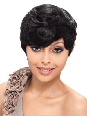Capless Human Hair Short Wavy Wig