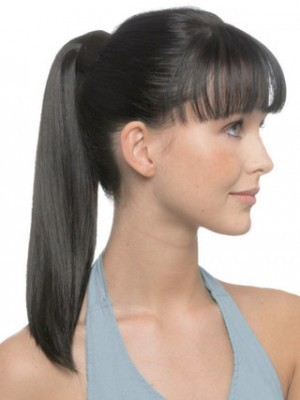 Straight Human Hair Ponytail With Pressure Clip