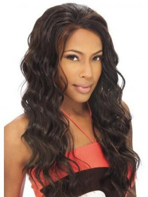 Long Wavy Remy Human Hair Lace Front African American Wig