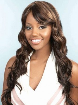 Side Fringe Water Wavy Synthetic African American Wig