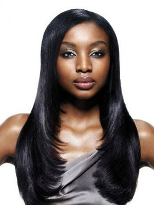 Popular Long Straight Synthetic African American Wig