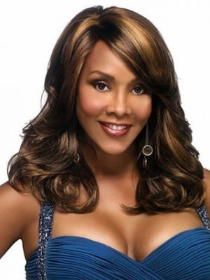 Long Flipped Wavy Synthetic Capless African American Wig