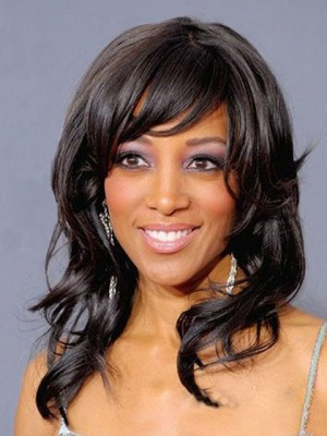 Synthetic Long Wavy Capless African American Wig