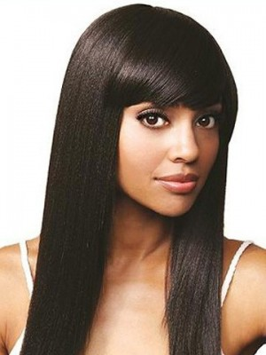 Silky Straight Remy Human Hair African American Wig