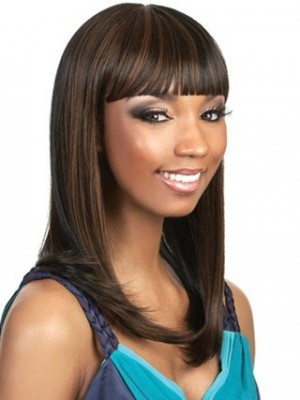 Sleek Cleopatra Style African American Wig With Bold Bangs