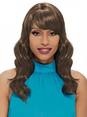 Capless Silky Wavy Synthetic African American Wig