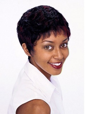 Short Boy Cut Wavy Synthetic Capless African American Wig