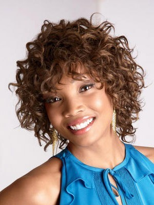 Medium Curly Synthetic Capless African American Wig