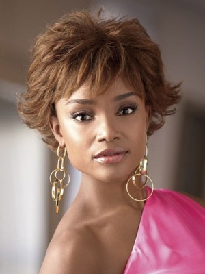 Cute Wavy Short Synthetic Capless African American Wig