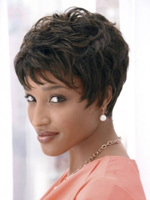 Dramatic Short Cut Synthetic African American Wig
