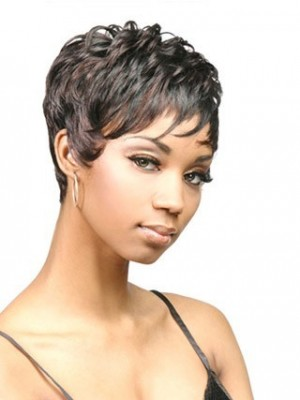 Sophisticated Short Capless Curly African American Wig