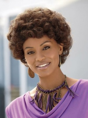 Short Micro-Kink Synthetic Capless African American Wig