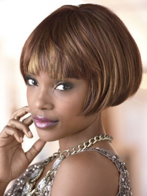 Short Straight Bob Capless Synthetic African American Wig