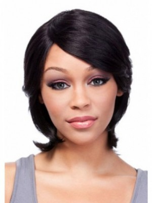 Capless Medium Popular Human Hair African American Wig With Bangs