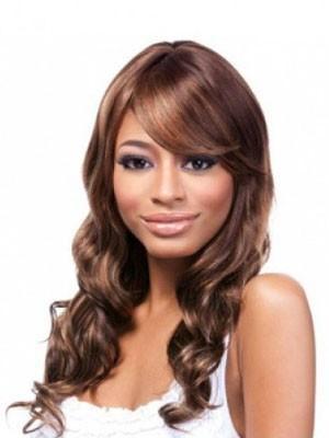 Capless Long Good Human Hair African American Wig With Bangs
