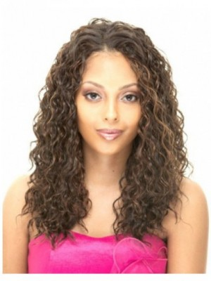 Curly Capless Long Human Hair African American Wig