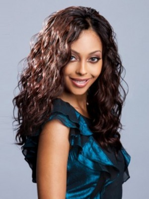 Wavy Lace Front Long Human Hair African American Wig
