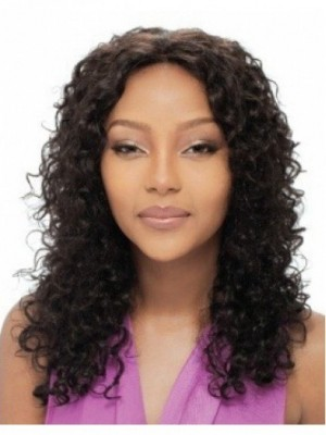Curly Long Capless Human Hair African American Wig