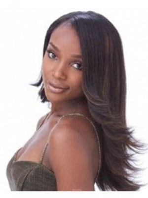 Trendy Long Capless Straight Human Hair African American Wig