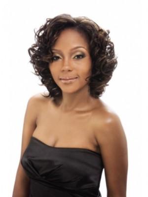 Medium Classic Capless Wavy Human Hair African American Wig