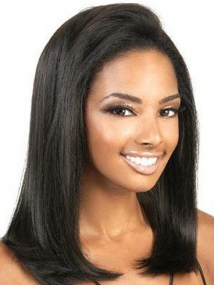 Straight Remy Human Hair Front African American Wig