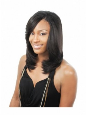 High Quality Straight Lace Front Long Human Hair African American Wig