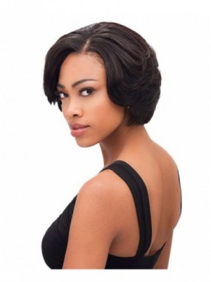 Short Lace Front Straight Human Hair African American Wig