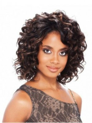 Lace Front Short Human Hair African American Wig Without Bangs