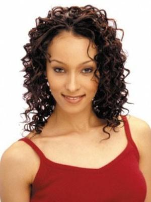 Comfortable Capless Curly Medium Human Hair African American Wig