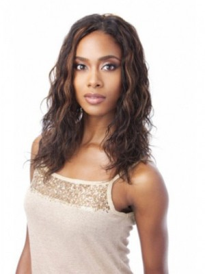 Comfortable Lace Front Long Human Hair African American Wig Without Bangs