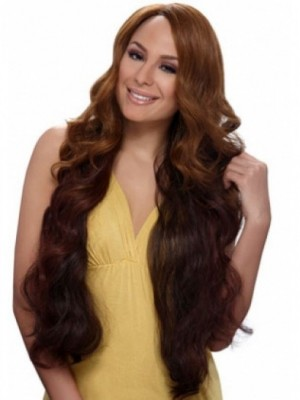 Wavy Long African American Wig Without Bangs
