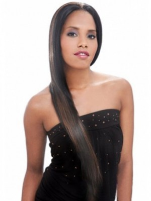Straight Long Synthetic African American Wig