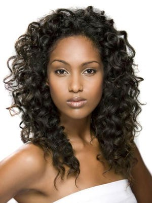 Long Curly Synthetic Lace Front African American Wig