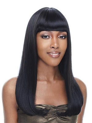 Long Straight Synthetic Lace Front African American Wig With Bangs
