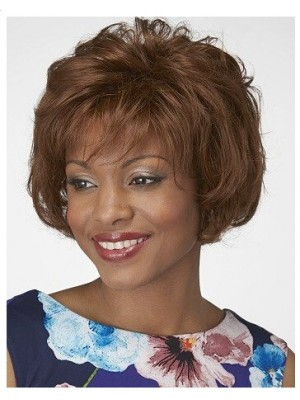 Feathered Synthetic Lace Front Bob African American Wig
