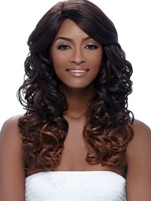 Long Human Hair Wavy Lace Front African American Wig
