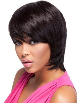 Short Straight Bob Remy Hair African American Wig