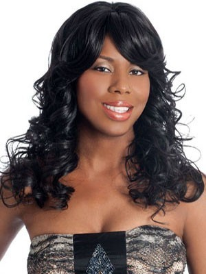Long Wavy Remy Hair Lace Front African American Wig
