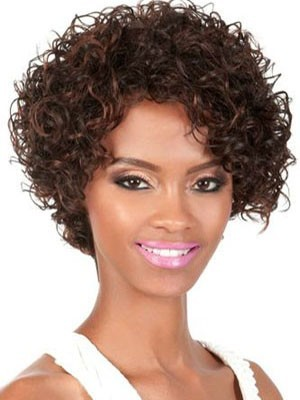 Lace Front Short Curly Human Hair African American Wig
