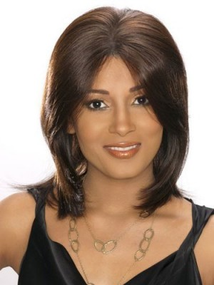 Lace Front Straight Human Hair African American Wig