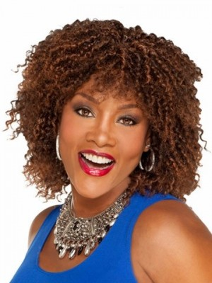 Curly Medium Natural Synthetic African American Wig