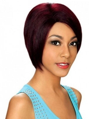 Red Capless Popular Straight Synthetic Wig