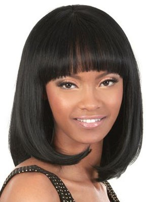 Wonderful Capless Medium Length Human Hair Wig