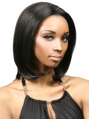 Human Hair Straight Lace Front African American Wig