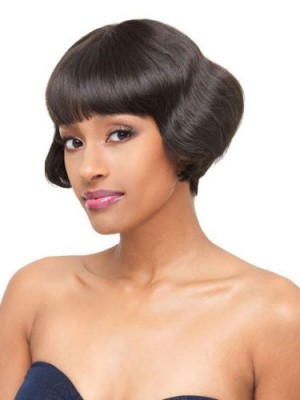 Short Straight Lace Front Human Hair African American Wig