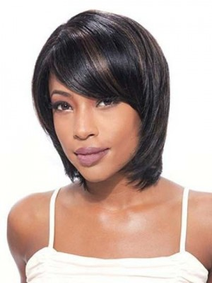 Simple Tailored Straight Lace Front African American Wig
