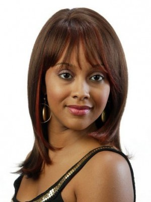 Straight Brown Remy Hair African American Wig